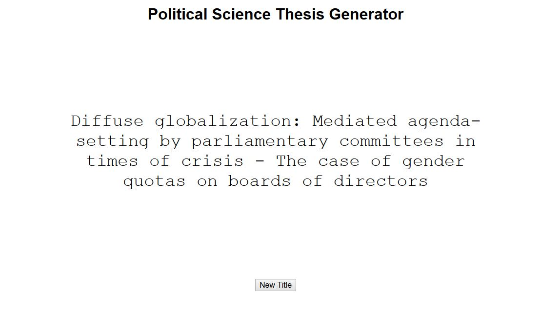 Political Science Thesis Generator